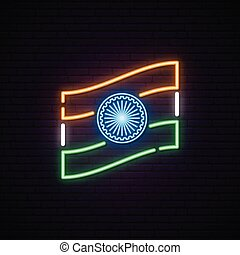 Glowing neon sign with indian flag.