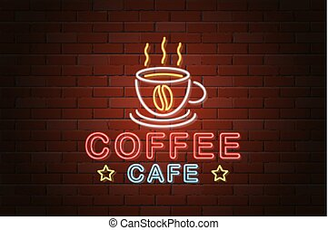 glowing neon signboard coffee cafe vector illustration