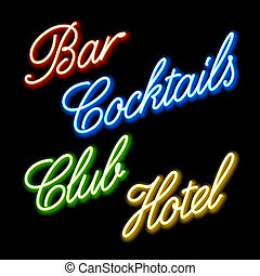 Glowing neon signs - Vector illustration of glowing neon ...