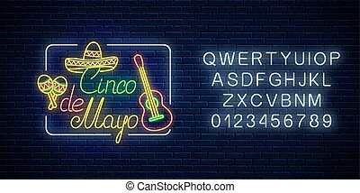 Glowing neon sinco de mayo holiday sign with alphabet. Mexican festival flyer design with guitar, maracas and sombrero