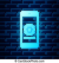 Glowing neon Smartphone update process with gearbox progress and loading bar icon isolated on brick wall background. System software update and upgrade concept. Vector Illustration