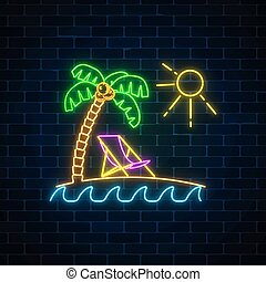 Glowing neon summer sign with palm, sun, chaise-longue and ocean on dark brick wall background. Shiny summertime symbol. Deck chair on island beach near blue sea. Vector illustration.