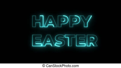 Flashing colorful neon lights sign Happy Easter, pink, blue, yellow, orange, green isolated on black screen. Religion concept. Animation text Happy Easter. Stock 4K video motion animation