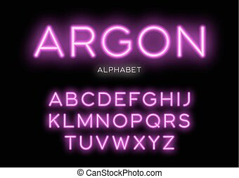 Glowing neon typeface design. Vector alphabet, letters, font, ty