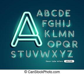 Glowing Neon Vector Alphabet
