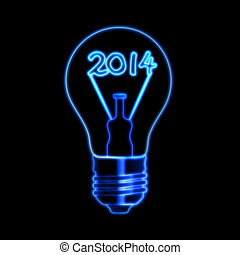 glowing new year 2014 in bulb - new year 2014 in bulb with...