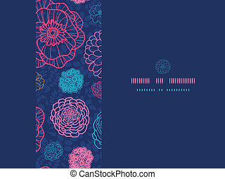 Glowing night flowers horizontal seamless pattern background