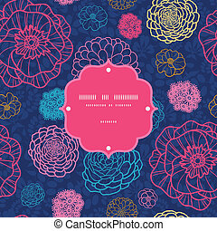 Glowing night flowers seamless frame pattern background