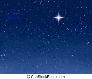 glowing, noite, estrela