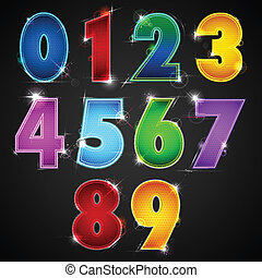 illustration of set of glowing shiny number