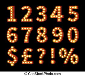 Glowing Numbers and Symbols on Black
