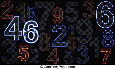 glowing numbers loopable background