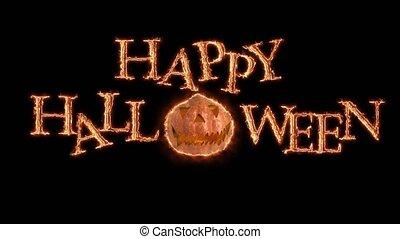 Glowing orange Happy Halloween text animation on black background