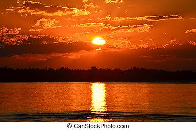 Glowing orange sunset