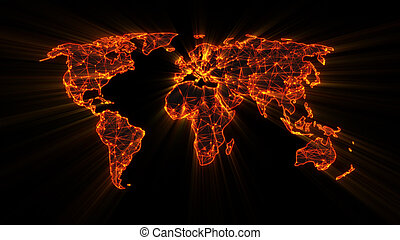 glowing orange worldwide web on world map concept