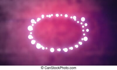 Glowing oval of fairy lights on pink background