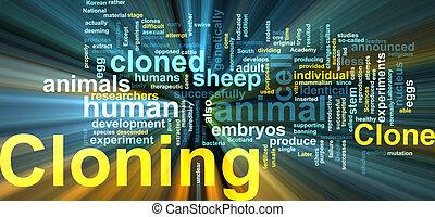 glowing, palavra, cloning, nuvem