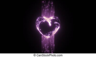 Glowing particles form the shape of the heart. St...
