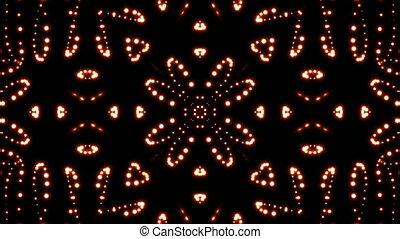 Glowing particles kaleidoscope. Seamless loop