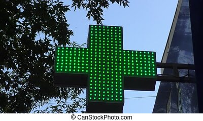 Glowing pharmacy sign that works around the clock