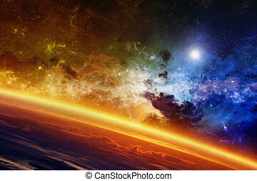 Glowing planet - Abstract scientific background - red ...