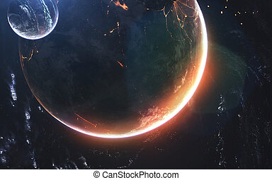Glowing planet, awesome science fiction wallpaper, cosmic landscape. Elements of this image furnished by NASA
