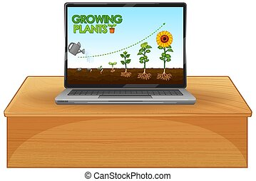 Glowing plants on computer screen illustration