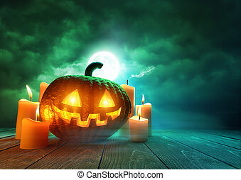 Glowing Pumpkin On Halloween