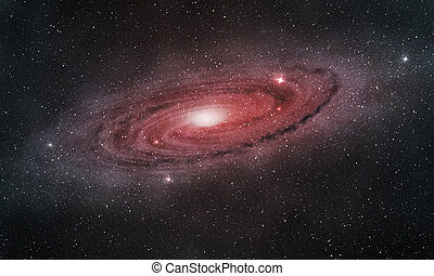 glowing purple-red spiral galaxy in the outer space