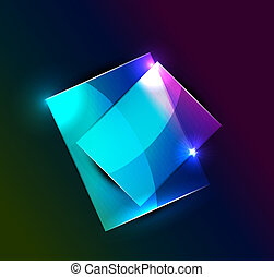 Glowing rectangular shapes on black - Vector illustration...
