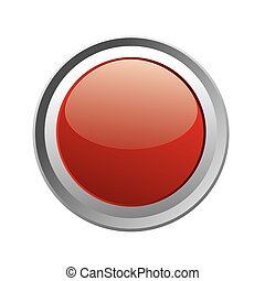 Glowing Red Button Isolated on Whit