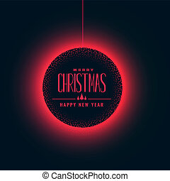 glowing red christmas ball on dark background