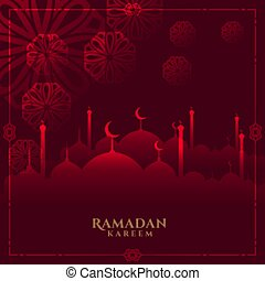 glowing red ramadan kareem background with mosque