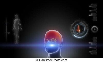 Glowing scan of human body in loop - Glowing scan of human...