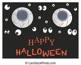 Glowing scary eyes halloween greeting card.eps