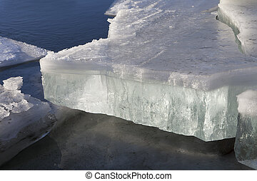 Glowing Sea Ice - Chunks of glowing broken sea ice washed up...