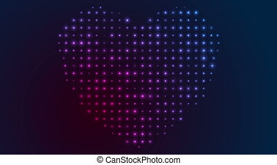 Glowing shiny blue violet heart shape video animation -...