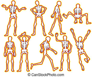 Glowing skeletons - Set of editable vector skeleton outlines...