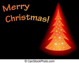 Glowing sparkling Christmas tree card with black background.