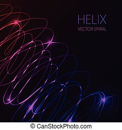 Glowing spiral on dark background. Blue and pink abstract light hi tech concept.
