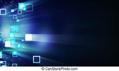 glowing squars on black loop background