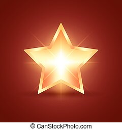 Glowing Star - Golden glowing star on dark red background