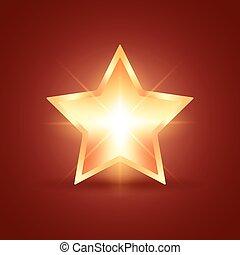 Glowing Star - Golden glowing star on dark red background