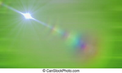 Glowing star moving on straight line on green gradient ...
