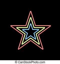 Glowing star of neon on a black background.