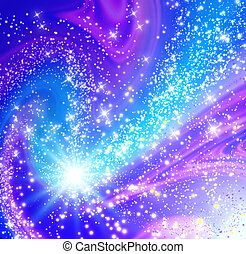 Cosmic space with flying comet and glowing stars
