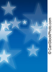 Glowing stars over blue background