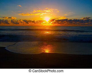 Glowing Sunrise - Sunrise On The Manasquan Beach In New...