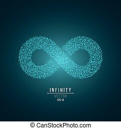 Glowing symbol of infinity from small blue particles. Volumetric sign with shadow. The eternal way. Futuristic style