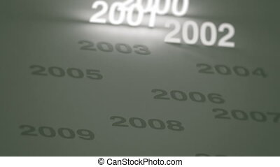 Glowing Timeline: 2000s and 2010s - Three clips of a simple,...